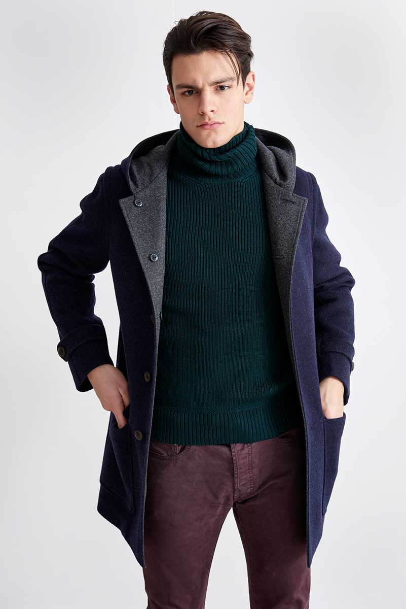 Duffle coat in loden fabric