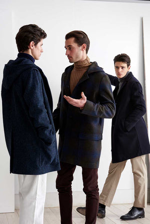 Duffle coat with degradè checks pattern