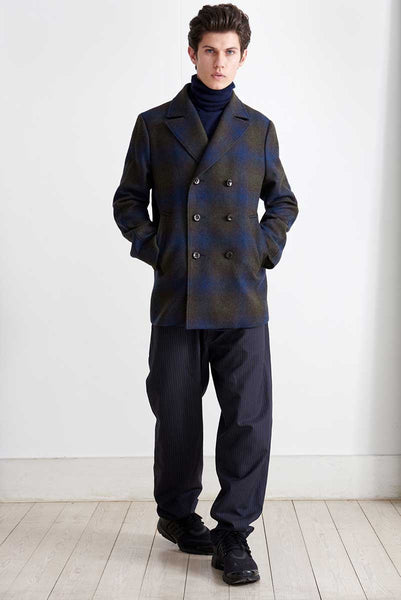 Peacoat with degradè checks pattern