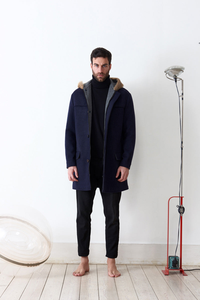 Parka doubled in loden fabric