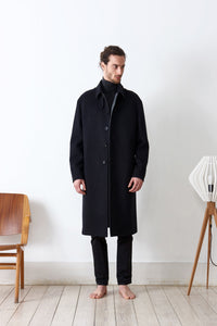 Classic coat doubled in loden fabric
