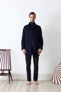 Classic loden coat doubled in loden fabric