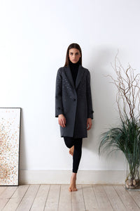 Embroidered coat in loden fabric