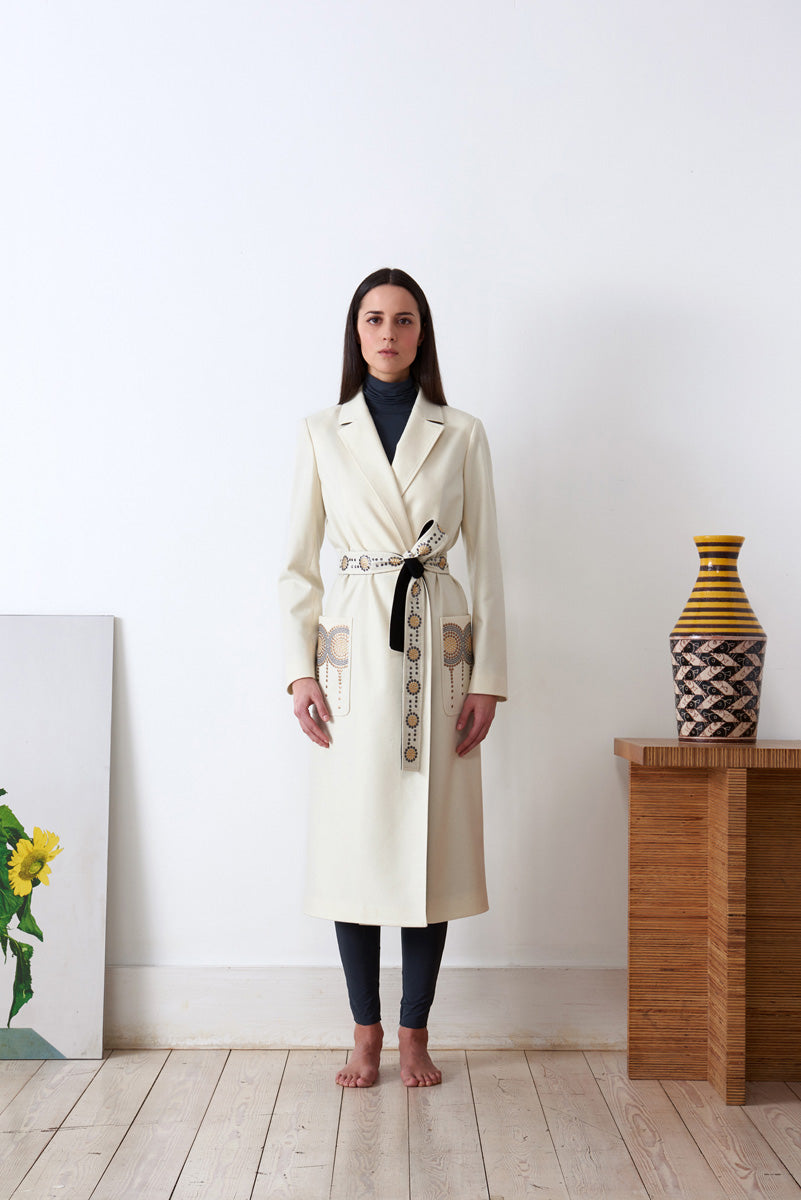 Embroidered Robe in loden fabric