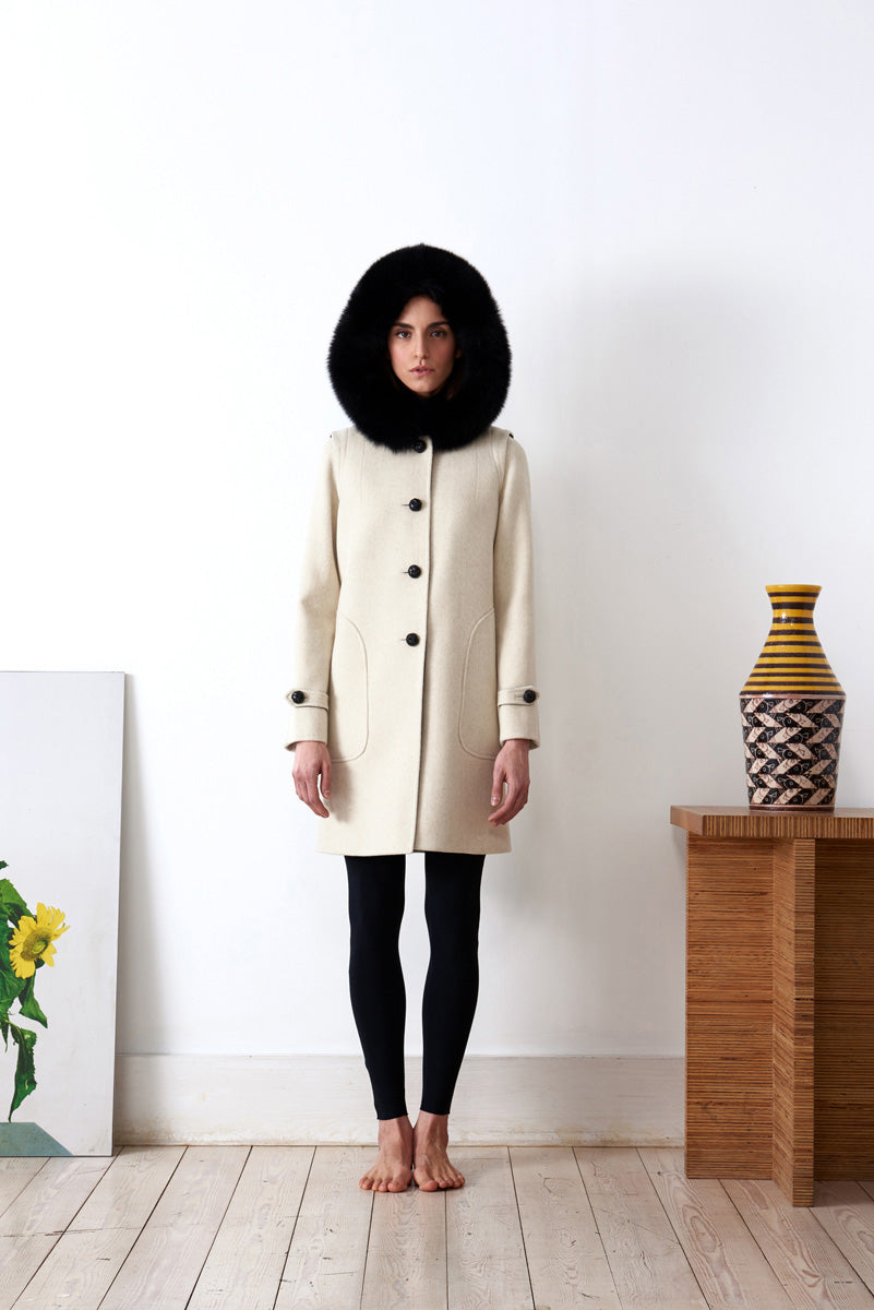 Hooded coat in loden fabric