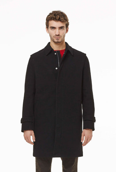 Loden coat with hidden zip.