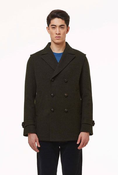 Peacoat in loden fabric.