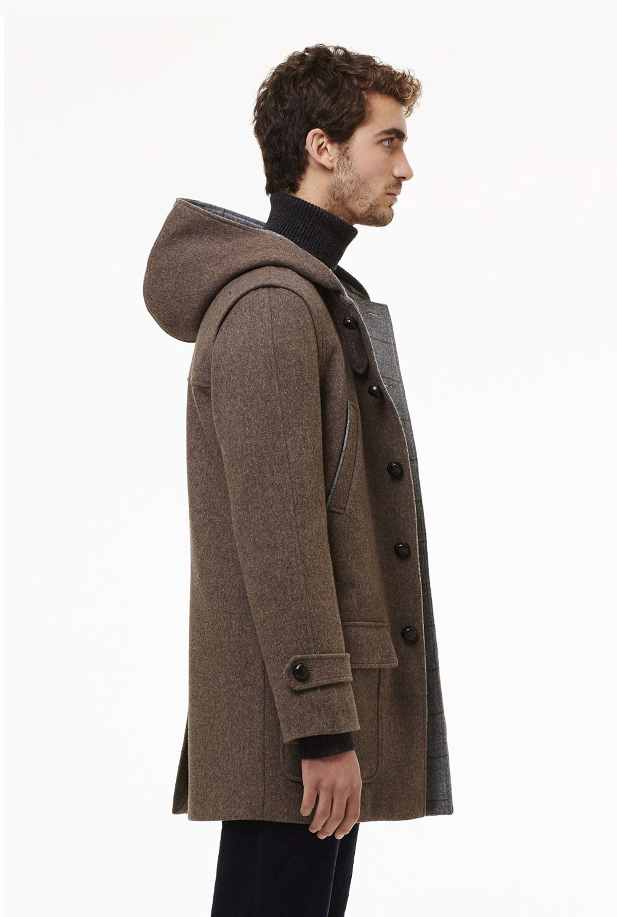 Duffle coat with patch pockets and hood.