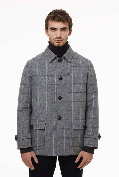 Hunting jacket in check fabric.