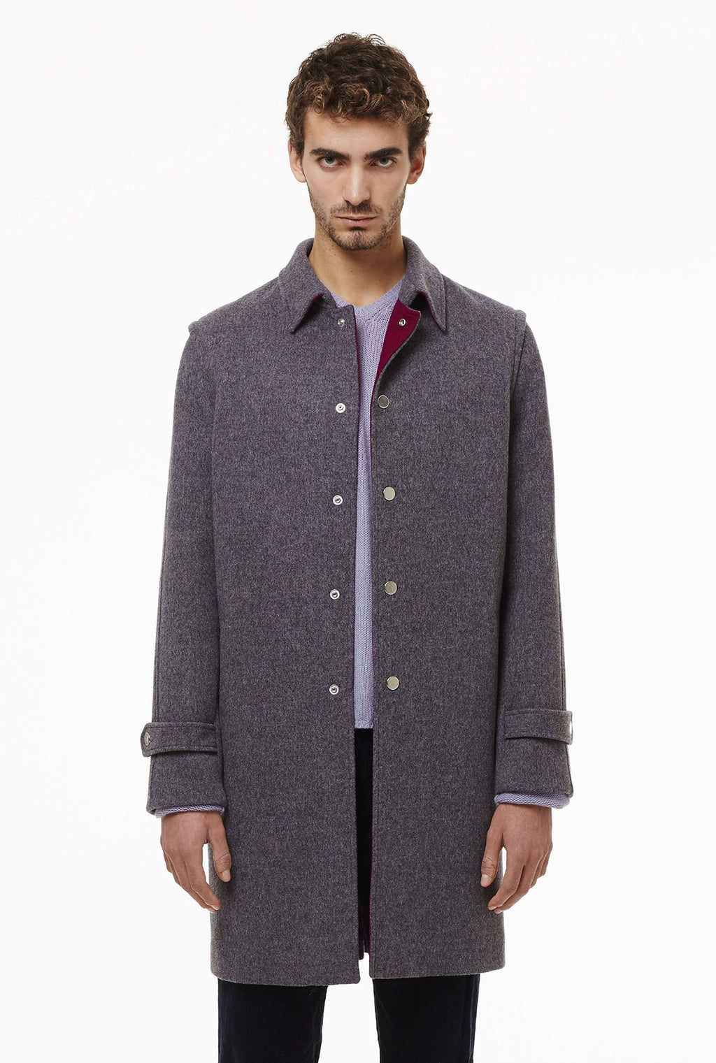 Loden coat with automatic snaps.