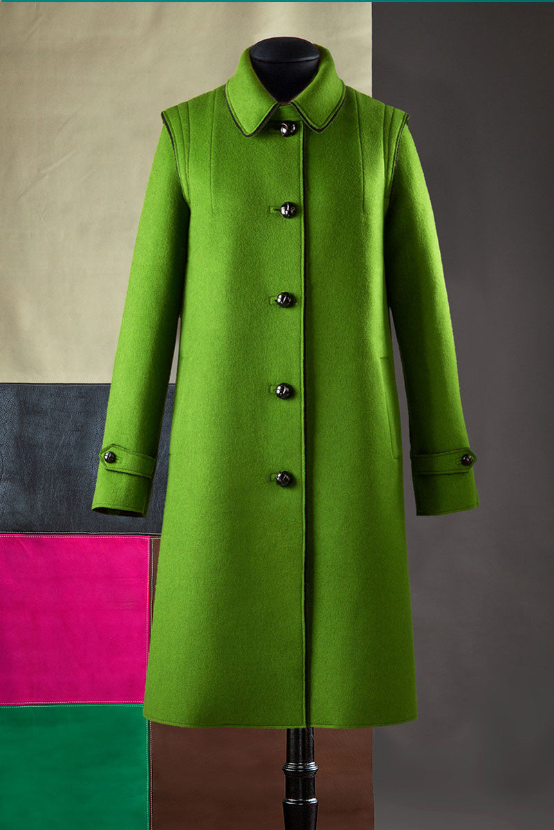 Raw-edges loden coat.
