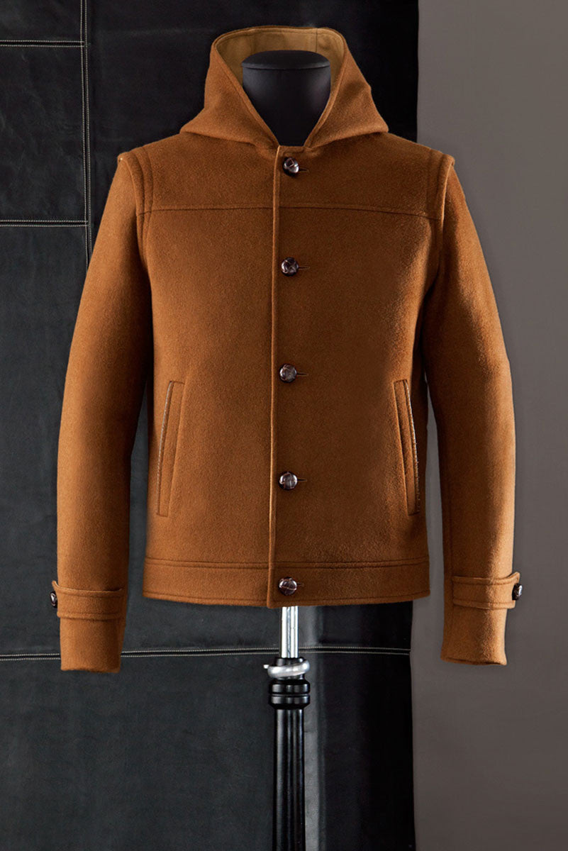 Hooded loden jacket.