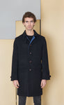 Coat with martingale in 100% extra-fine merino wool.