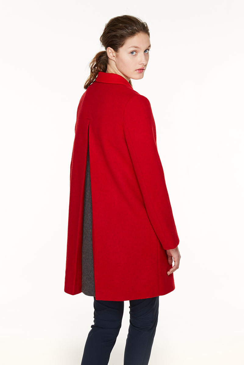 One-button loden coat.