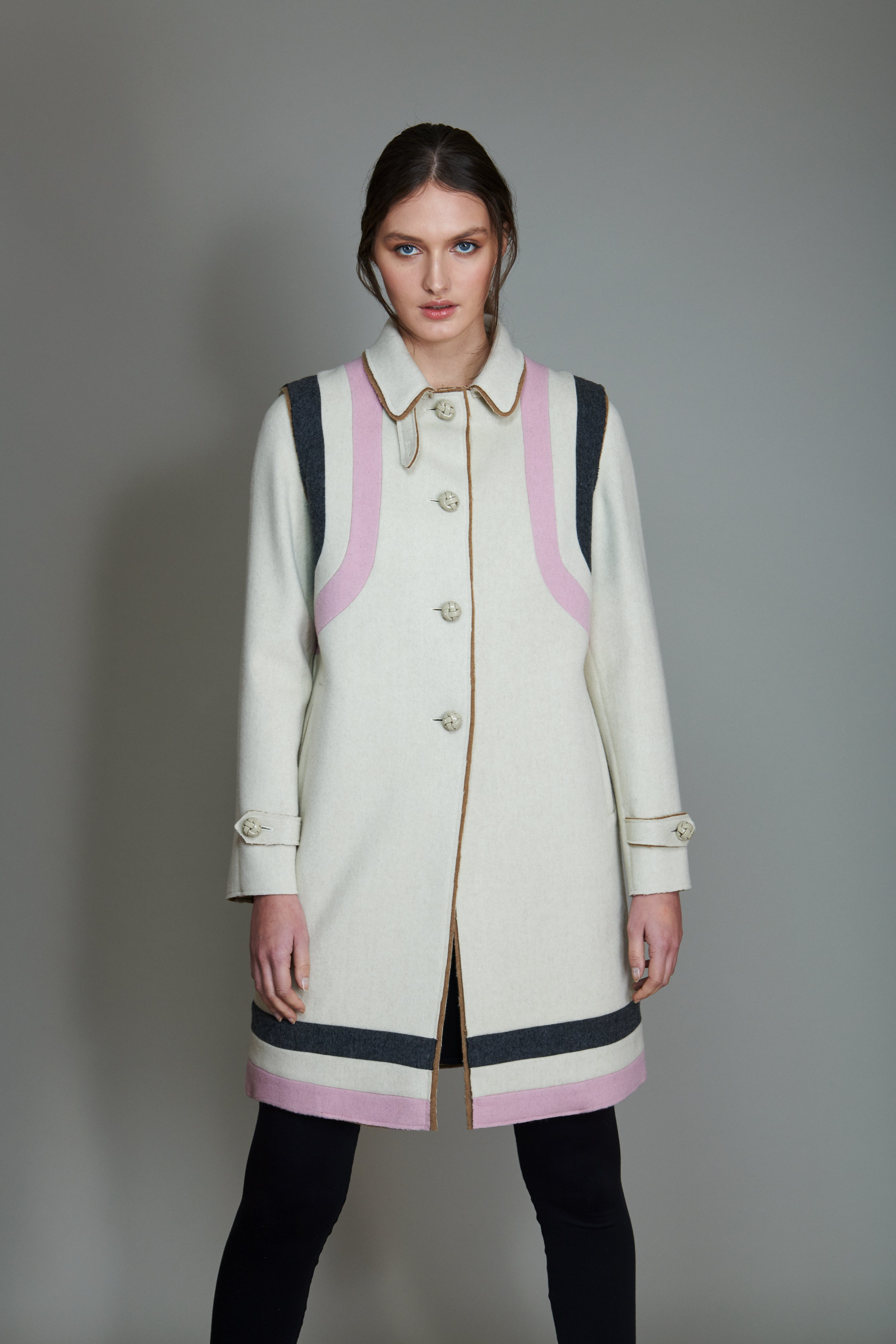Classic Loden Coat in 100% extra-fine merino wool with striped intarsia.
