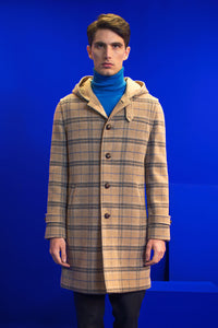 Hooded loden check coat.
