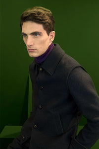 Raw-edges loden peacoat.