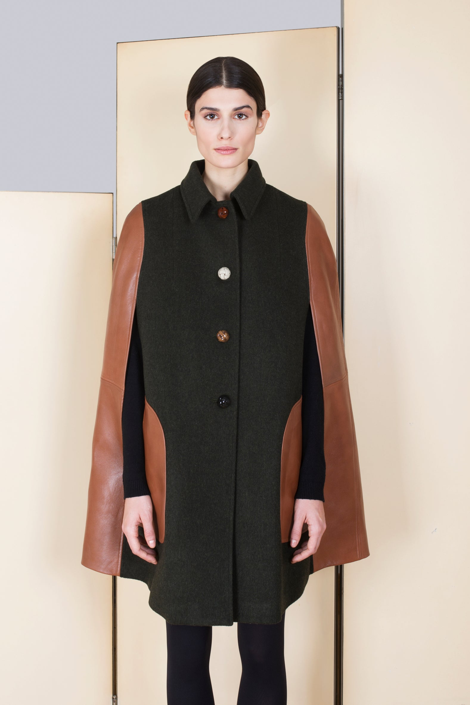 Loden Cape in 100% extra-fine merino wool.