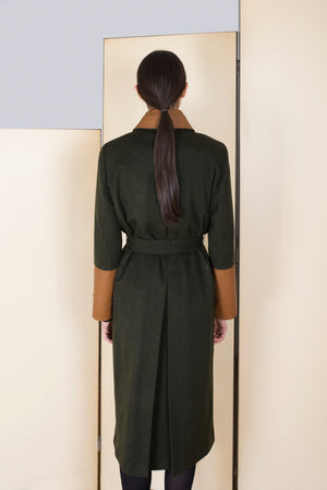 Loden Robe Coat in 100% extra-fine merino wool.