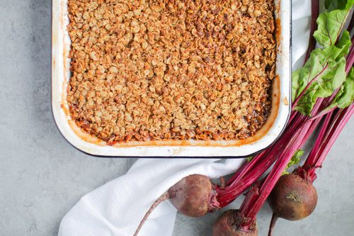 Vegan Apple & Beetroot Crumble.