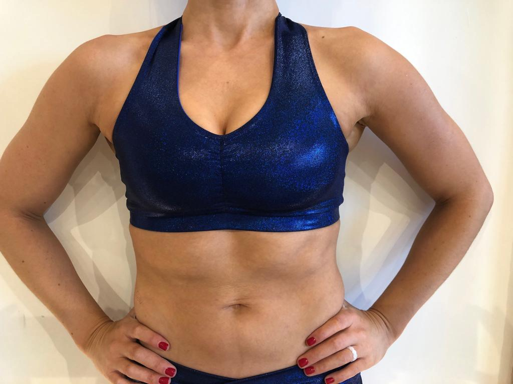 Metallic Midnight Blue Twisty Sports Bra