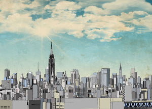 Manhattan Blue Sky Illustration, New York City