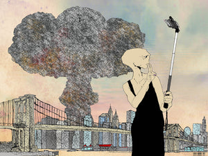 Manhattan Selfie Behind The Bomb Illustration, New York City