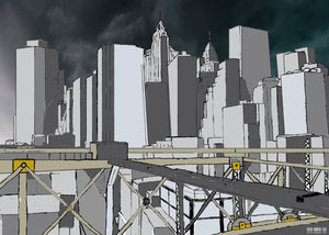 Manhattan Storm Illustration, New York City