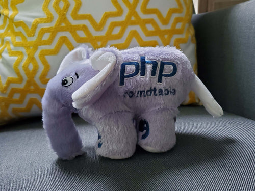 The official elePHPant plush toy of the PHP Roundtable