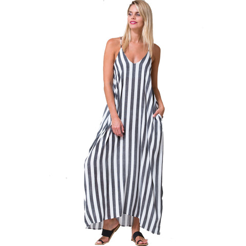 Striped Maxi Dress/w Pockets