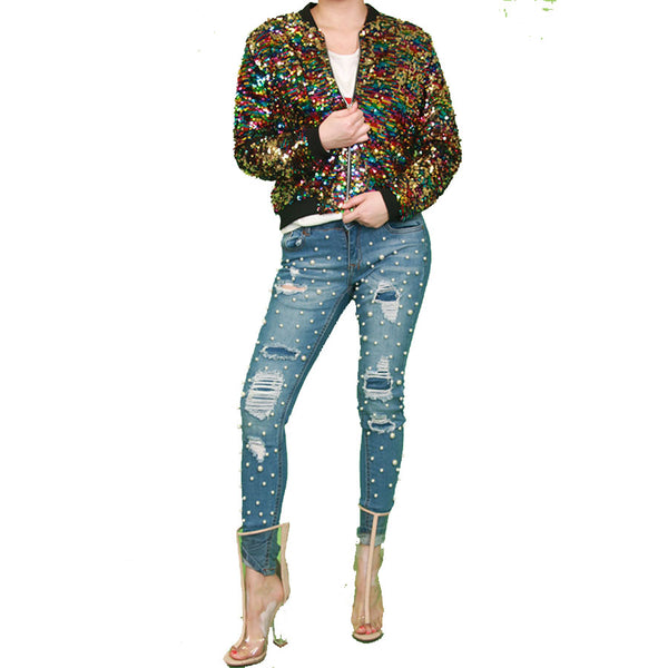 Twinkle Sequin Bomber