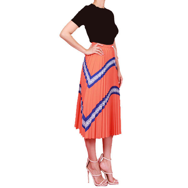 Accordion Pleated Lace Skirt