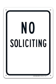 Black Board No Soliciting Sign Large 10 X 7 Rust Free 0.40 Aluminum Sign UV Printed with Professional Graphics-Easy to Mount Indoors & Outdoors