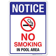 No Smoking in Pool Area Sign, Pool Sign 10x14 Rust Free .40 Aluminum UV Printed, Easy to Mount Weather Resistant Long Lasting Ink Made in USA by SIGO SIGNS