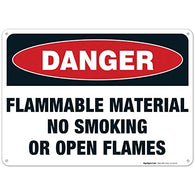 Danger Flammable Materials Sign, No Smoking Or Open Flames Sign, 10x14 Rust Free Aluminum, Long Lasting Weather/Fade Resistant, Easy Mounting, Indoor/Outdoor Use, Made in USA