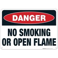 Danger Sign, No Smoking Or Open Flame Sign, 10x14 Rust Free Aluminum, Long Lasting Weather/Fade Resistant, Easy Mounting, Indoor/Outdoor Use, Made in USA