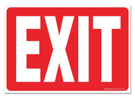 "(2 PACK) Exit Sign, Large 10x7"" Vinyl Stickers, For Indoor or Outdoor Use - By SIGO SIGNS - Sigo Signs"