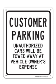"Customer Parking Sign ""Legend - Large 10 X 14 Square Rust Free 0.40 Aluminum Sign UV Printed With Professional Graphics-Easy To Mount Indoors & Outdoors - Sigo Signs"