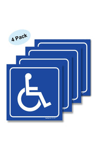 (4 Pack) Handicap Stickers - Disabled Wheelchair Vinyl Decal Sticker Stickers, Disability Sign, For Indoor or Outdoor Use - By SIGO SIGNS - Sigo Signs
