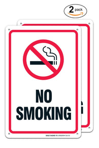 (2 PACK) No Smoking Sign, Smoking Sign Legend 10 X 7 Rust Free 0.40 Aluminum Sign USA Made Of Rust Free Aluminum-UV Printed With Professional Graphics-Easy To Mount - Sigo Signs