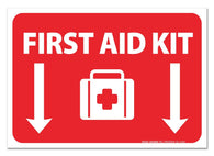 "(2 Pack) First Aid Kit Sign - Self Adhesive 7 X 10"" 4 Mil Vinyl Decal - Indoor & Outdoor Use - UV Protected & Waterproof - Sleek - Sigo Signs"