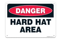 """Danger"" Hard Hat Area, Sign ""Legend - Large 10 X 14 Square Rust Free 0.40 Aluminum Sign UV Printed With Professional Graphics-Easy To Mount Indoors & Outdoors - Sigo Signs"