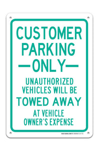 "Customer Parking Only Sign ""Legend - Large 10 X 14 Square Rust Free 0.40 Aluminum Sign UV Printed With Professional Graphics-Easy To Mount Indoors & Outdoors - Sigo Signs"