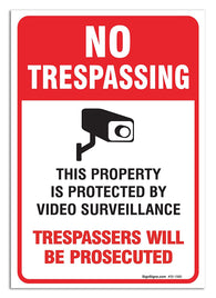 "(2 Pack) Video Surveillance Sign Large 10 X 7"" Vinyl Decal — Indoor & Outdoor Use — UV Protected & Waterproof - By SIGO SIGNS"