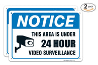 (2 PACK) Video Surveillance Sign - Avoid Intruders Using Large 10 x 14 Inch Warning-USA Made Of Rust Free Aluminum-UV Printed With Professional Graphics-Easy To Mount Indoors & Outdoors - Sigo Signs
