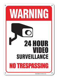 Video Surveillance Sign - No Trespassing Sign - Violators Will Be Prosecuted Legend 10 X 14 Rust Free Aluminum-UV Printed With Professional Graphics-Easy To Mount Indoors & Outdoors - Sigo Signs