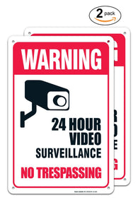 (2 PACK) Video Surveillance Sign - No Trespassing Sign - Violators Will Be Prosecuted Legend 10 X 14 Rust Free Aluminum-UV Printed With Professional Graphics-Easy To Mount - Sigo Signs