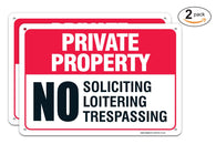 "(2 PACK) Private Property Sign - No Soliciting No Loitering No Trespassing Sign Legend' 10x14 .04"" Aluminum Sign USA Made Of Rust Free Aluminum-UV Printed With Professional Graphics-Easy To Mount - Sigo Signs"