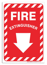 "(2 Pack) Fire Extinguisher Sign With Arrow, Large 10 X 7"" Vinyl Stickers, For Indoor or Outdoor Use - By SIGO SIGNS - Sigo Signs"