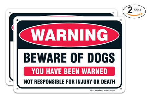 "(2 PACK) Beware of Dog Warning Sign, Large 10x7"" Aluminum, For Indoor or Outdoor Use -USA Made Of Rust Free Aluminum-UV Printed With Professional Graphics-Easy To Mount By SIGO SIGNS - Sigo Signs"